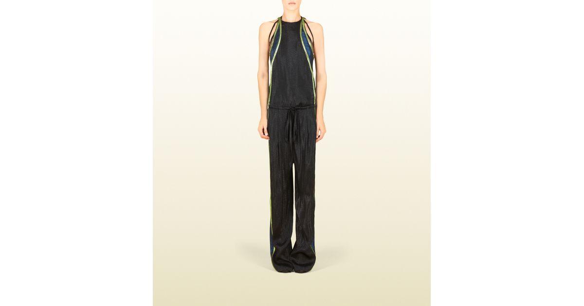 f1715f8e1e4 Lyst - Gucci Black Liquid Lame Jumpsuit in Black