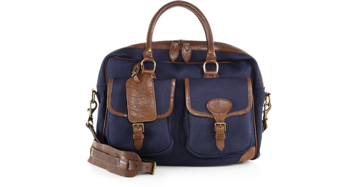 Ralph Lauren Polo Leather Canvas Tote Blue