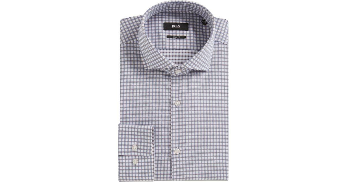 1c5c4dc2 Dress Shirts Boss Hugo Boss Black Label Dark Grey Mark US Geo Print Sharp  Fit Dress Shirt