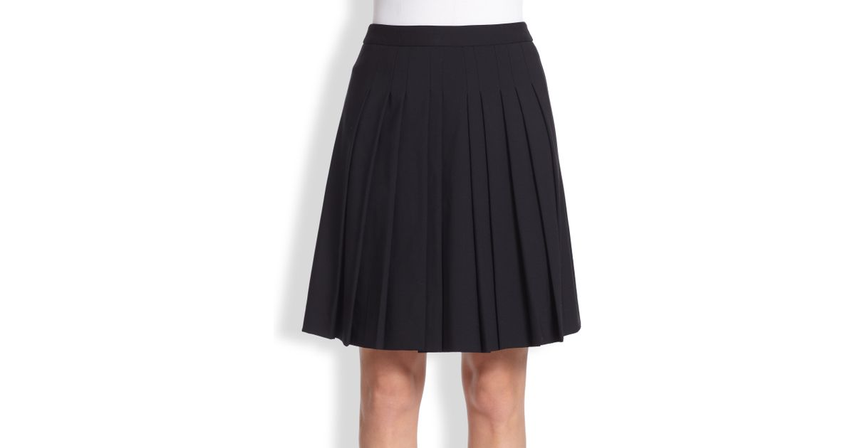 2a308f018 Theory Haiden Pleated-front Stretch Wool Skirt in Black - Lyst
