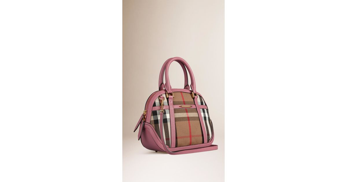78e0a54cb36 Burberry The Small Orchard In House Check in Purple - Lyst