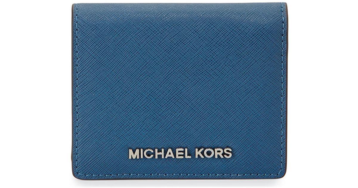 f58e348d9a5f Lyst - MICHAEL Michael Kors Jet Set Travel Saffiano Card Holder in Blue