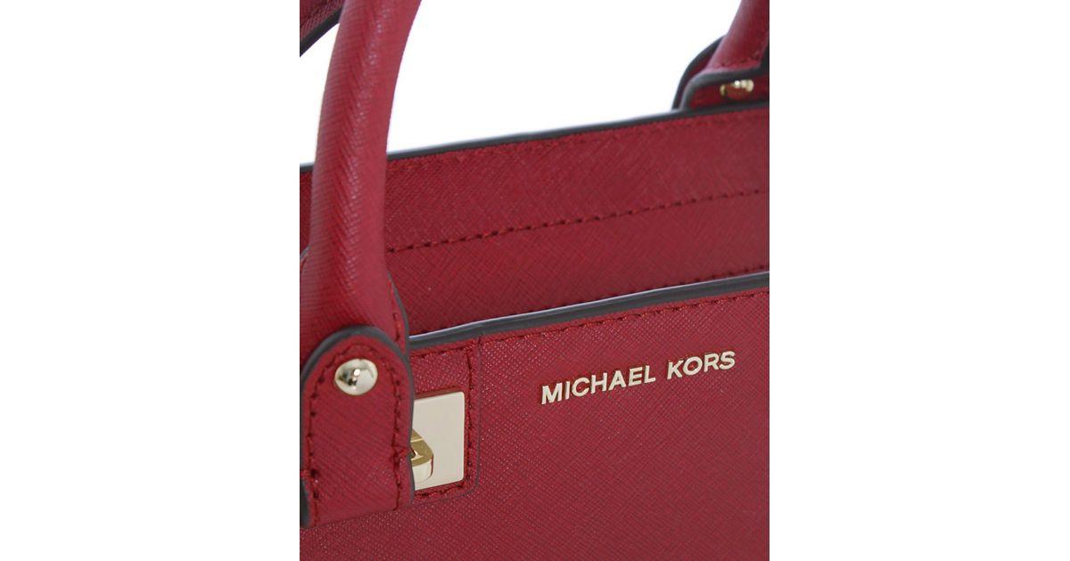 eb01b17e82b1 Lyst - MICHAEL Michael Kors Quinn Small Satchel Bag in Red