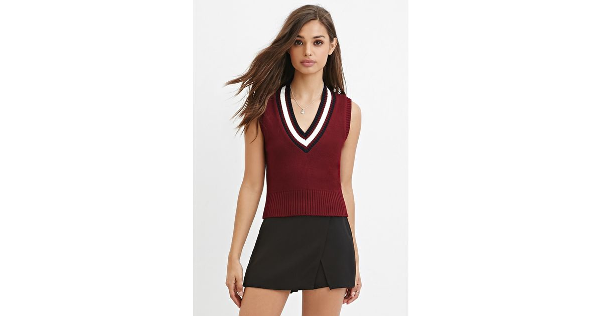 Forever 21 Varsity-striped Sweater Vest in Purple | Lyst