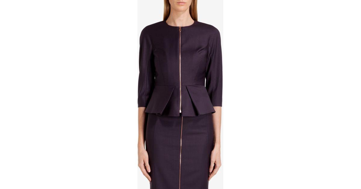 941281c61146e5 Lyst - Ted Baker Peplum Suit Jacket in Purple