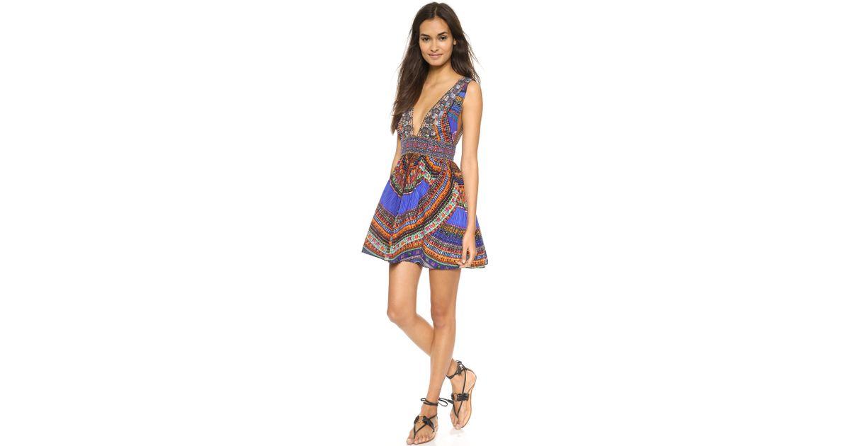 052460b107 Lyst - Camilla V Neck Short Dress With Tie - Ancient Paj Ndau