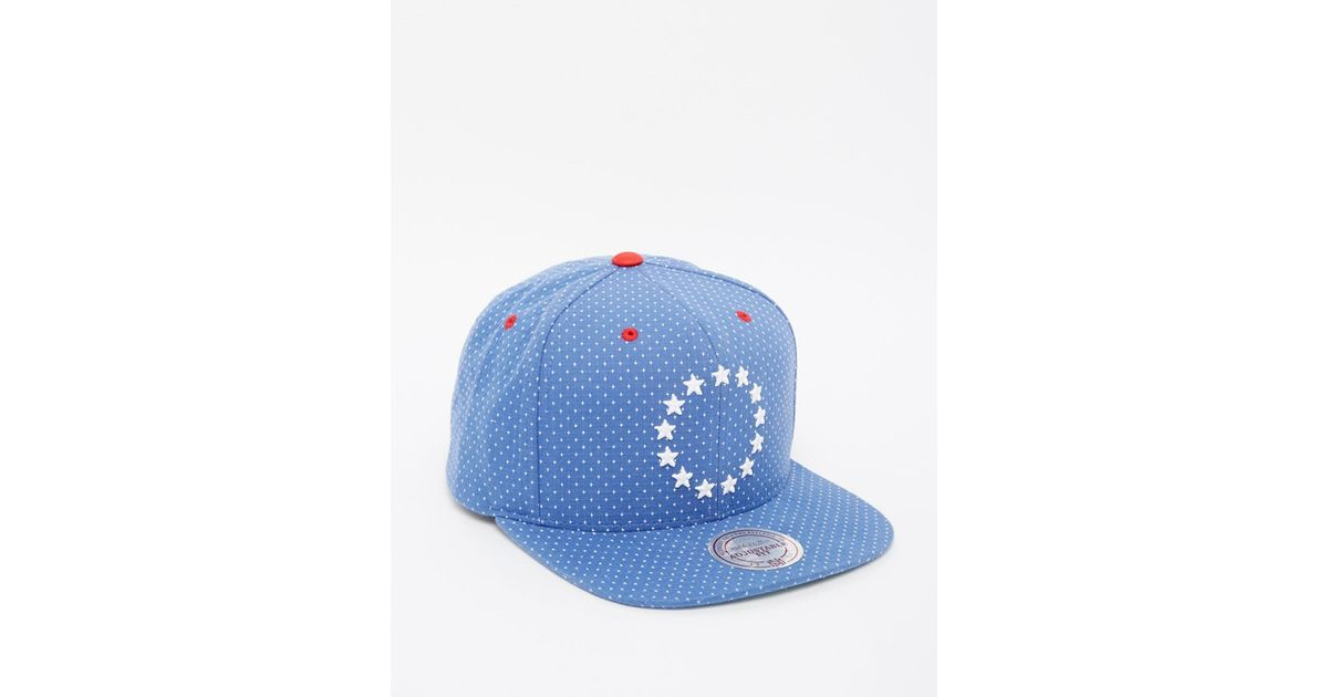 in stock 05b14 0663c ... new zealand lyst mitchell ness dotted philadelphia 76ers snapback cap  in blue for men d9c3f 46140