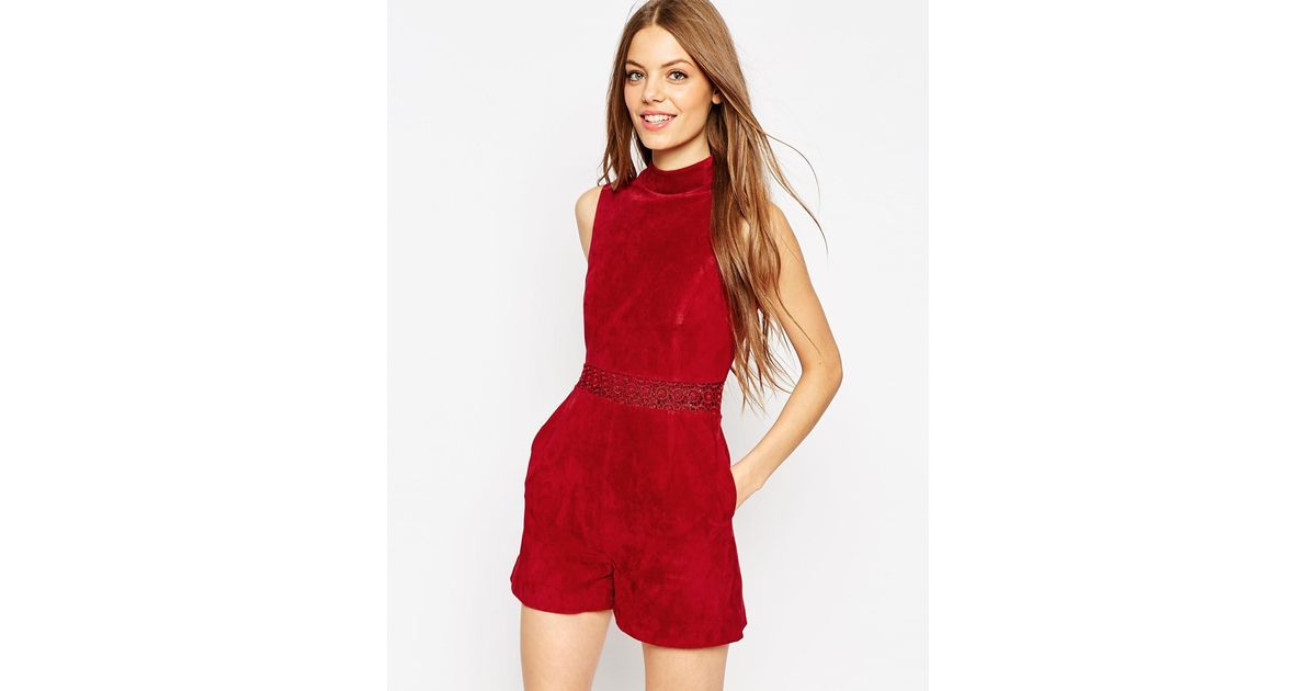94ad975a493f Lyst - ASOS Premium Playsuit In Suede With Cutwork Waist Detail - Red in Red
