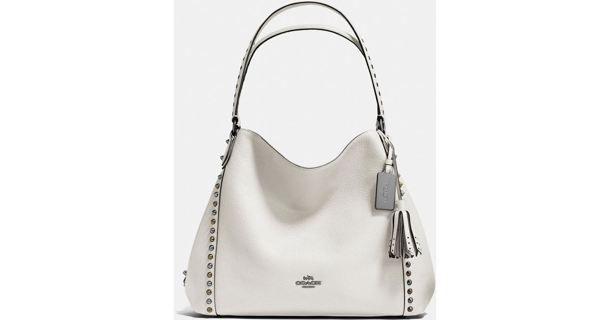 3b2dc479a6321 ... denmark lyst coach outline studs and grommets edie shoulder bag 31 in  leather in white a9236