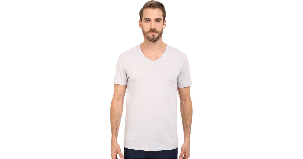 Michael stars v neck cotton tee in white for men ether for Michael stars tee shirts
