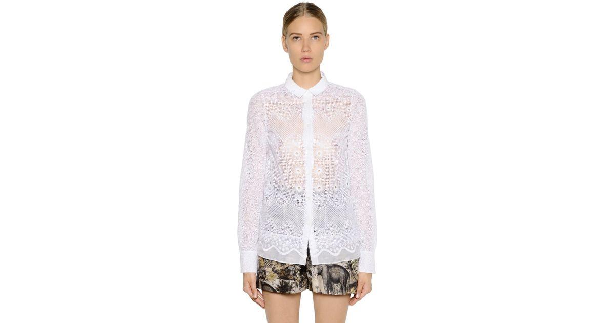 a62fe2adbeaa N°21 Embroidered Silk Organza Shirt in White - Lyst