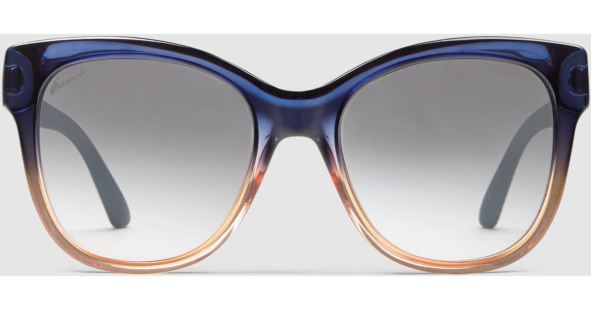42f2d0b6291 Lyst - Gucci Square-frame Optyl And Rubber Sunglasses in Blue