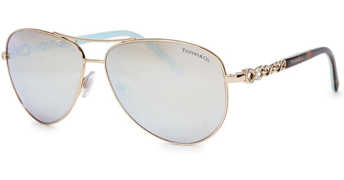 9ac46fdc0f8f Tiffany & Co. Gold Tone Mirrored Aviator-style Sunglasses in Metallic - Lyst