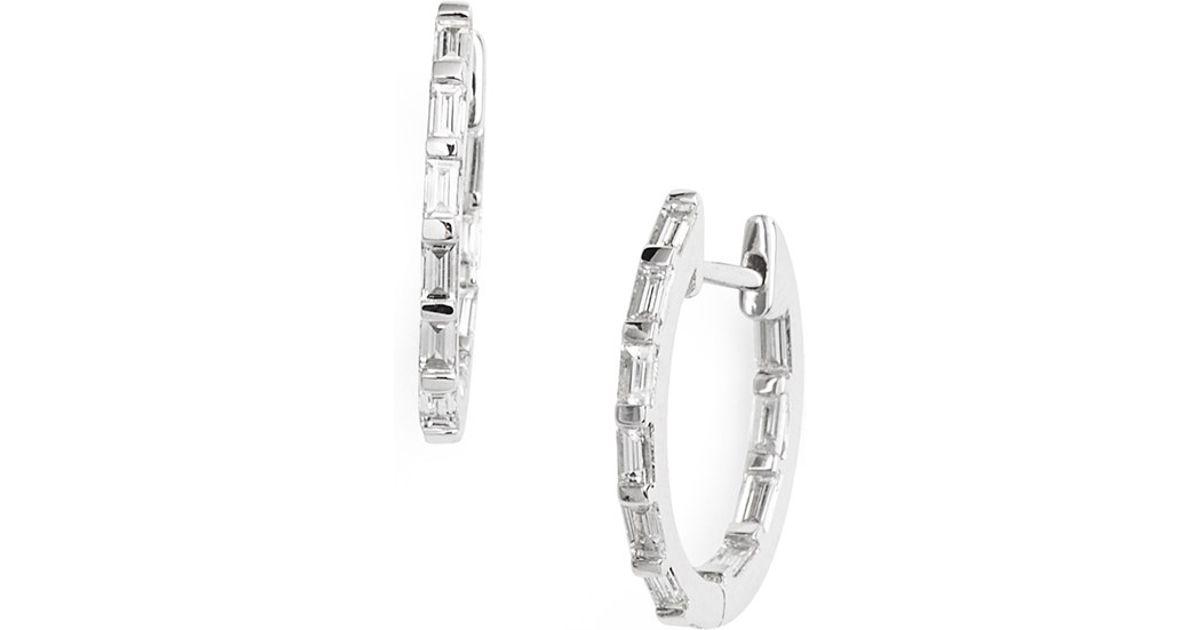 Lyst Bony levy Baguette Diamond Small Inside Out Hoop Earrings