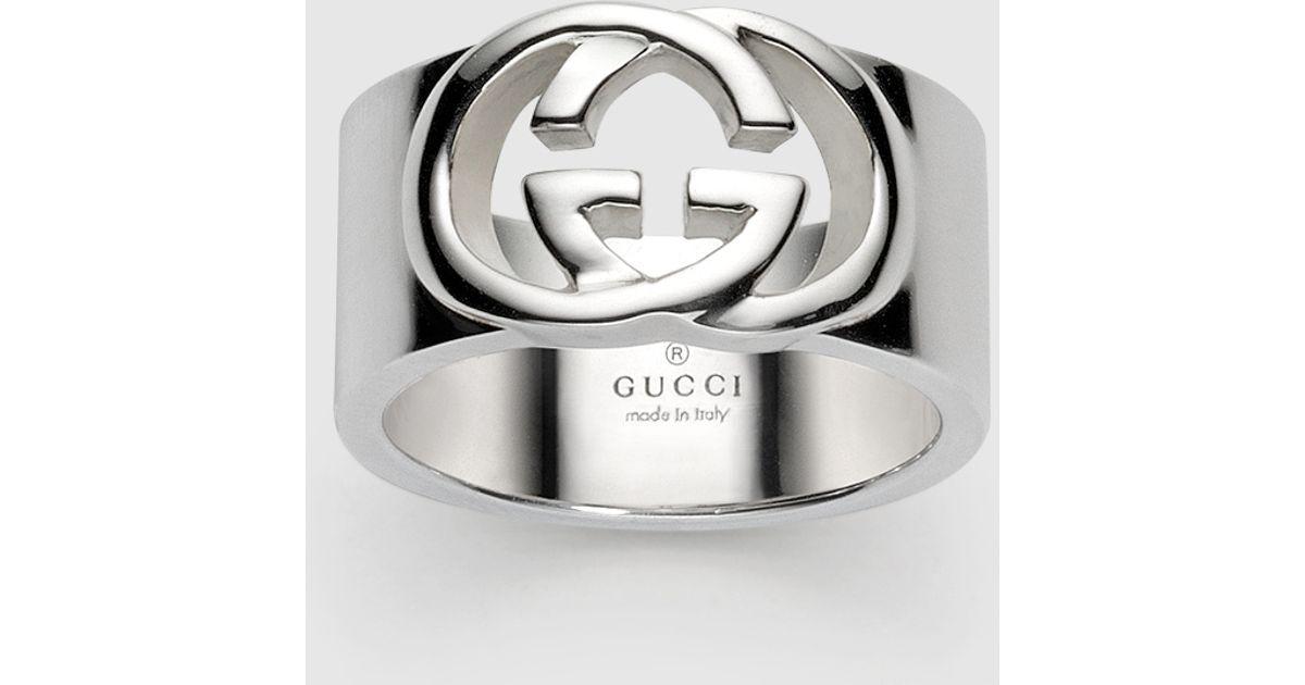 e0963386e Gucci Wide Band With Interlocking G Motif in Metallic - Lyst