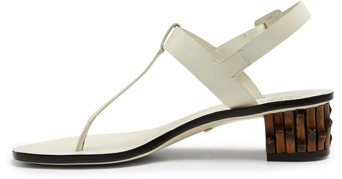 954955d9387e6 Lyst - Gucci Dahlia Bambooheel Leather Thong Sandal in White