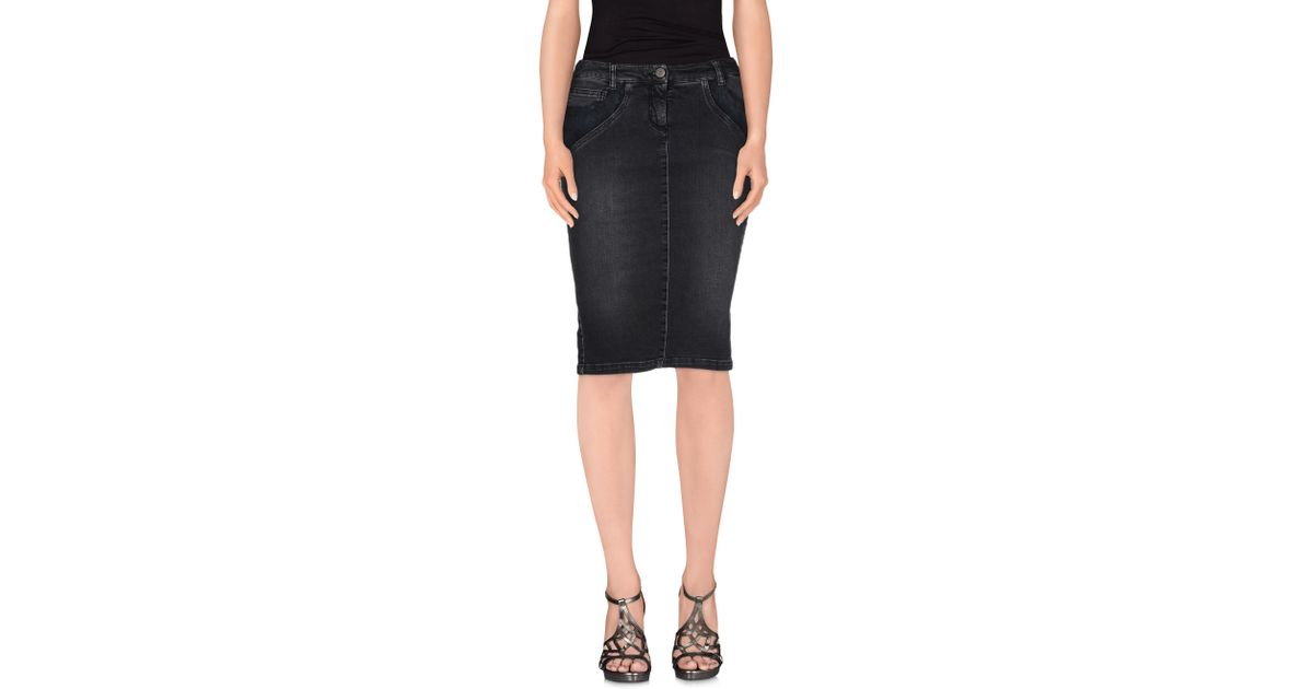 ermanno scervino denim skirt in black lyst