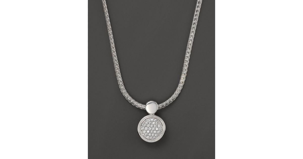Lyst john hardy dot silver diamond pave round drop pendant lyst john hardy dot silver diamond pave round drop pendant necklace 18 in metallic aloadofball Image collections