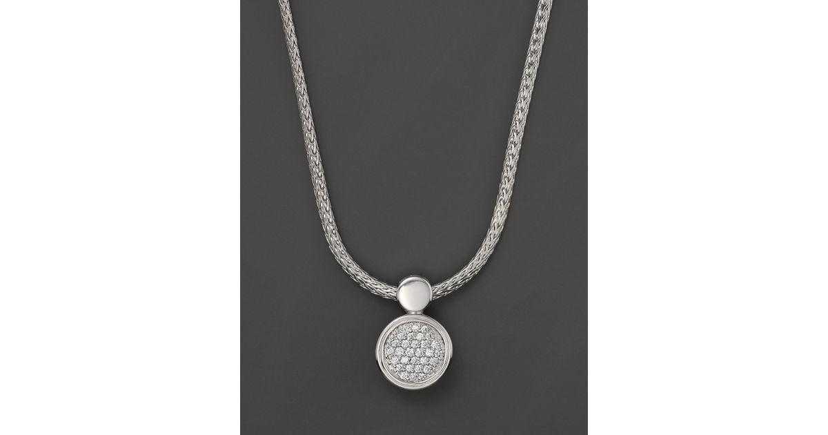 355649f2bd7d8 Lyst - John Hardy Dot Silver Diamond Pave Round Drop Pendant Necklace