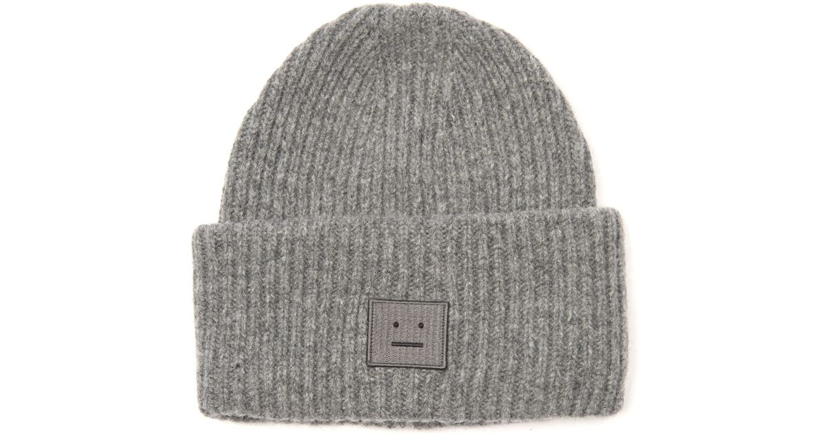 1a8f5c7df96 Lyst - Acne Studios Pansy Ribbed-Knit Wool Beanie in Gray
