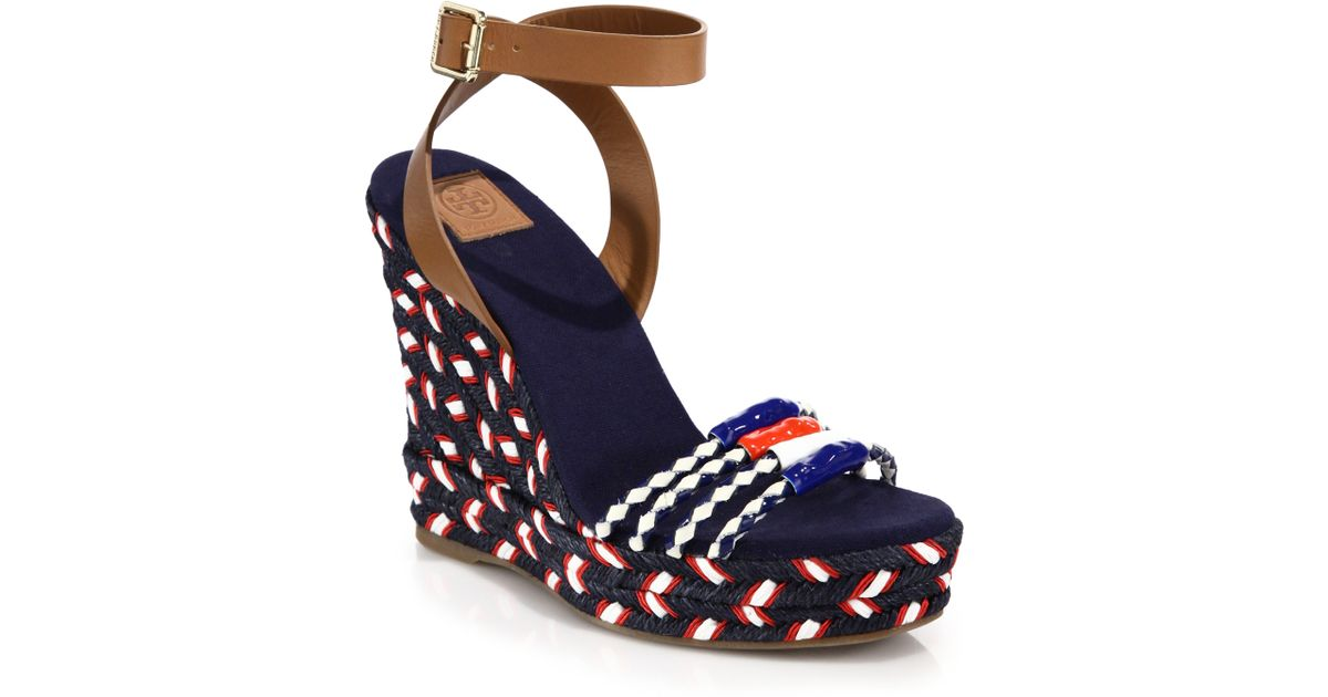 d4e1dc45bc2 Lyst - Tory Burch Leather   Braided Espadrille Wedge Sandals in Blue