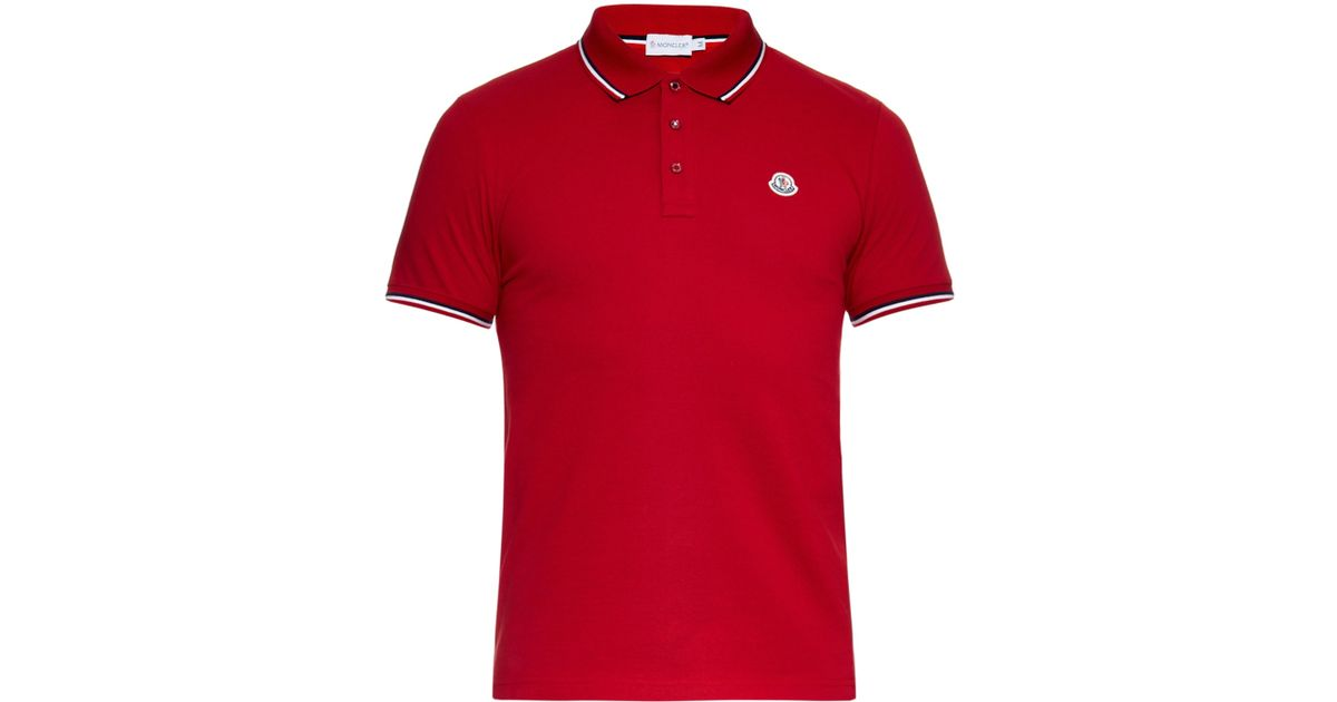 red moncler polo shirt