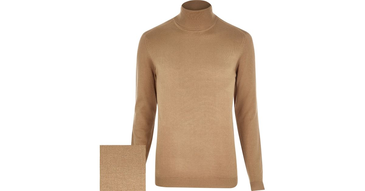River island Light Brown Roll Neck Sweater in Brown for Men | Lyst