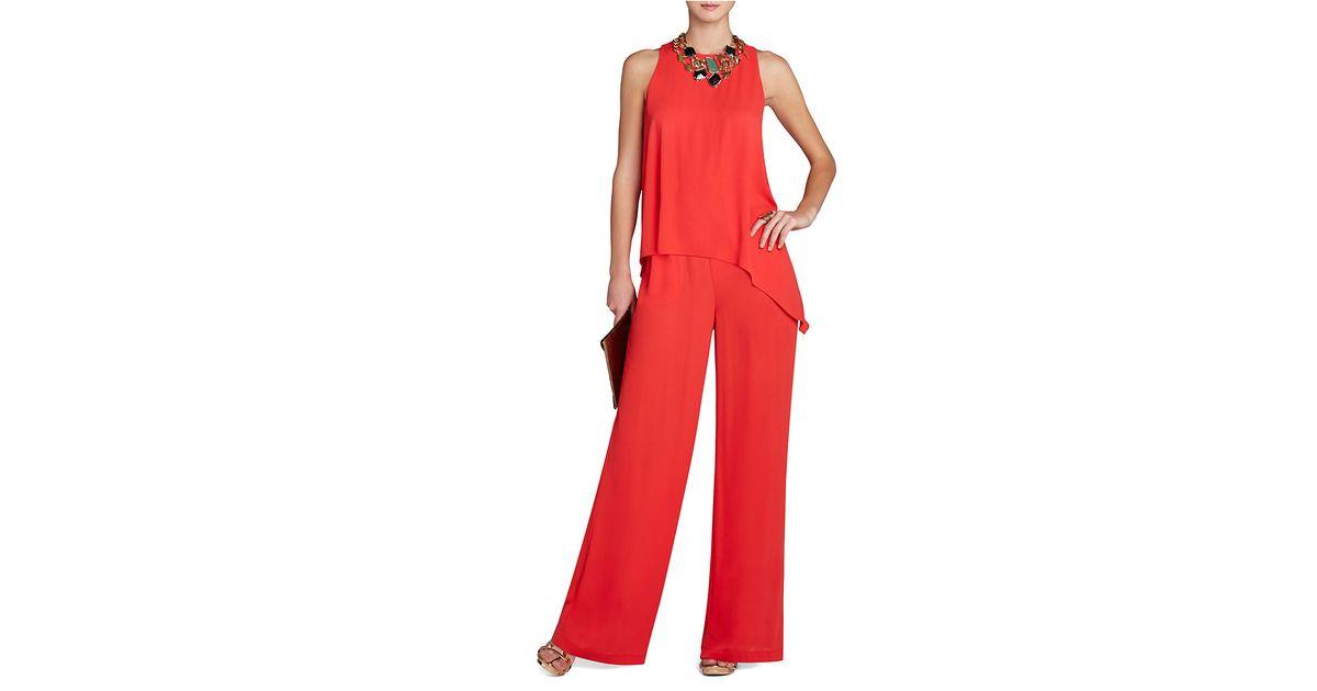 70a07a5fd0d Lyst - Bcbgmaxazria Hadli Sleeveless Draped Jumpsuit in Red
