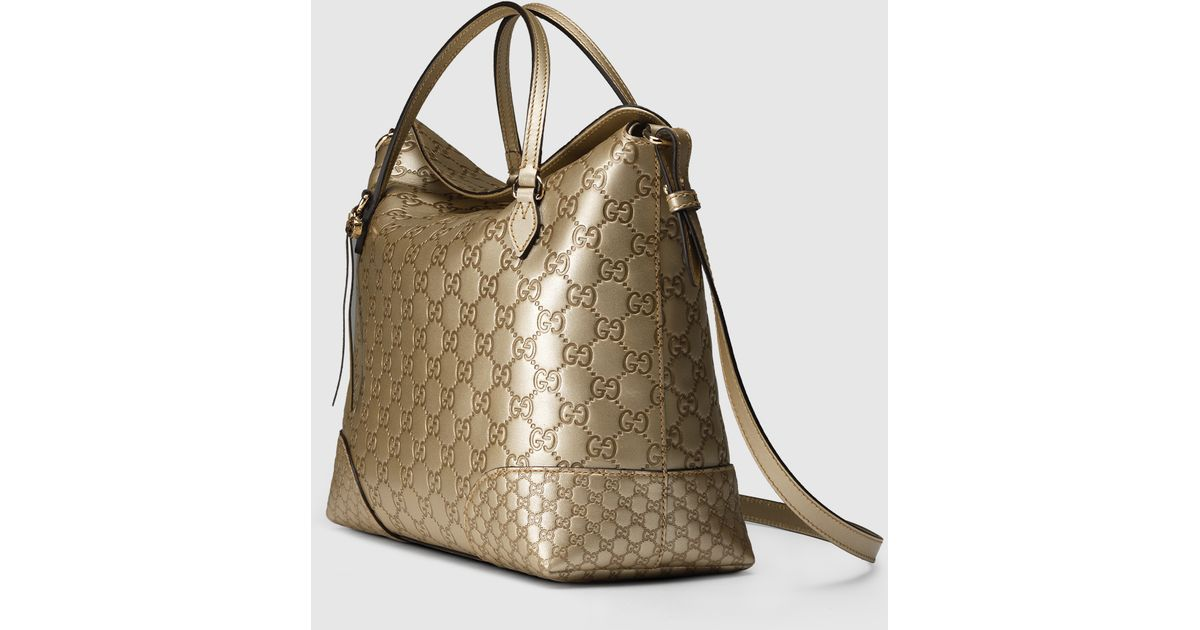 a2c6484b4 Gucci Bree Ssima Leather Top Handle Bag in Metallic - Lyst