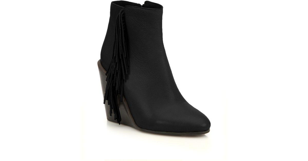 f2fac34f73b Lyst - See By Chloé Epona Fringe Leather Wedge Booties in Black