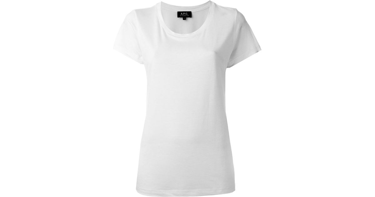 A p c scoop neck t shirt in white lyst for Apc white t shirt