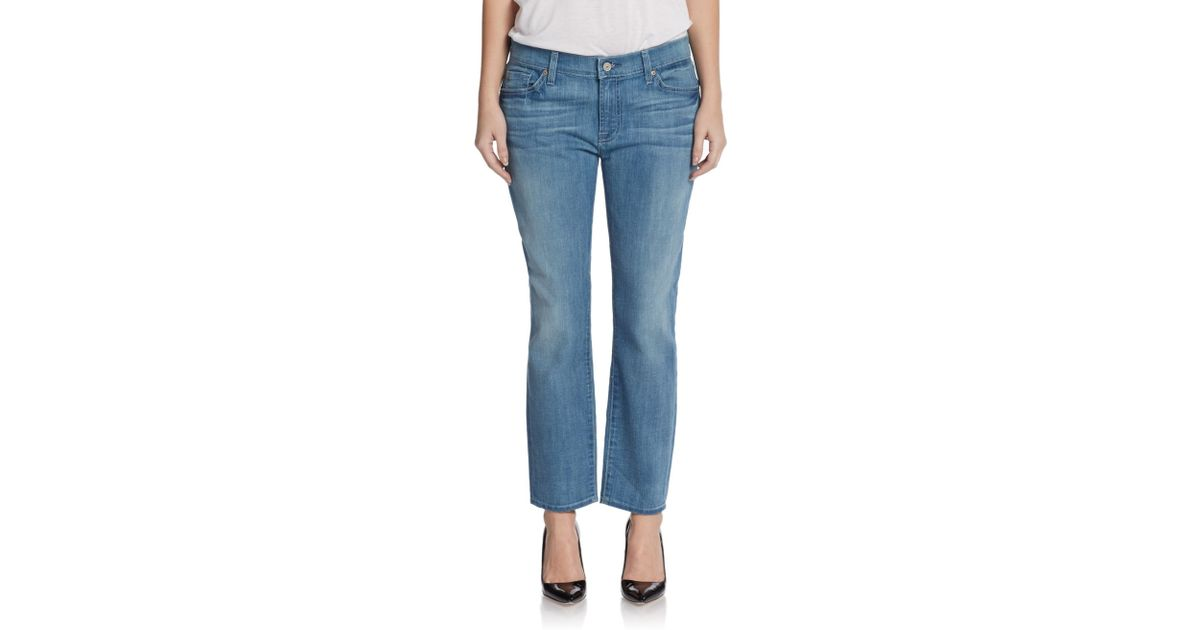 7 for all mankind cropped roxanne jeans in blue medium. Black Bedroom Furniture Sets. Home Design Ideas