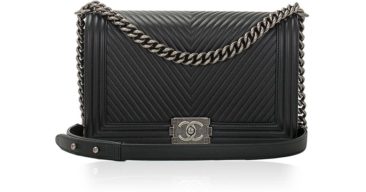 3a52f4bc2d Madison Avenue Couture Chanel Black Herringbone Chevron Calfskin Large Boy  Bag in Black - Lyst