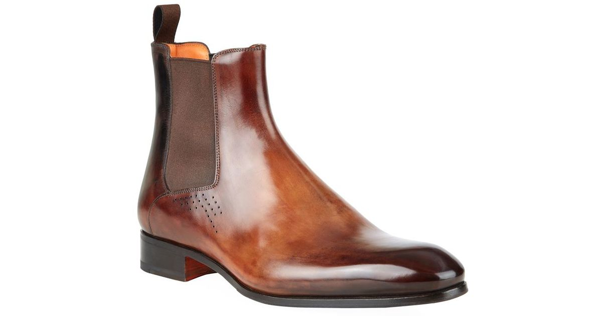 d336123184f0 Santoni Carter Leather Chelsea Boot in Black for Men - Lyst