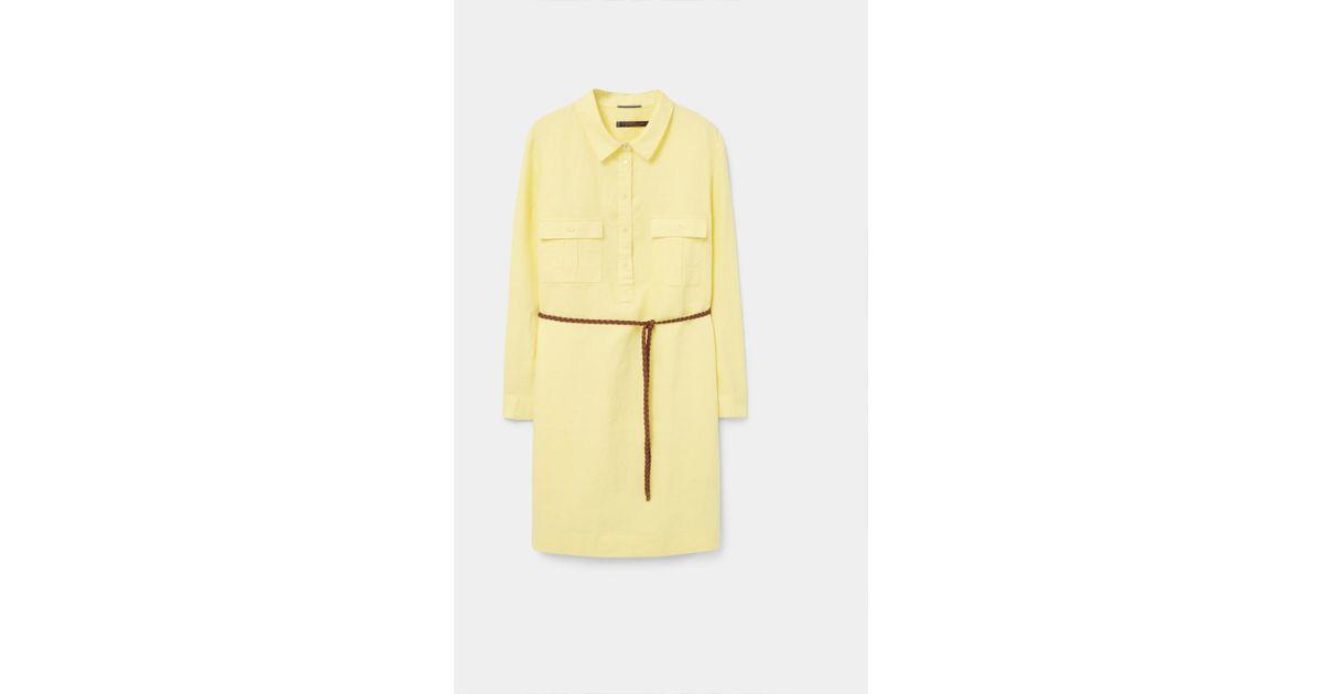 Lyst - Violeta By Mango Linen-blend Shirt Dress in Yellow 596ed37984f1