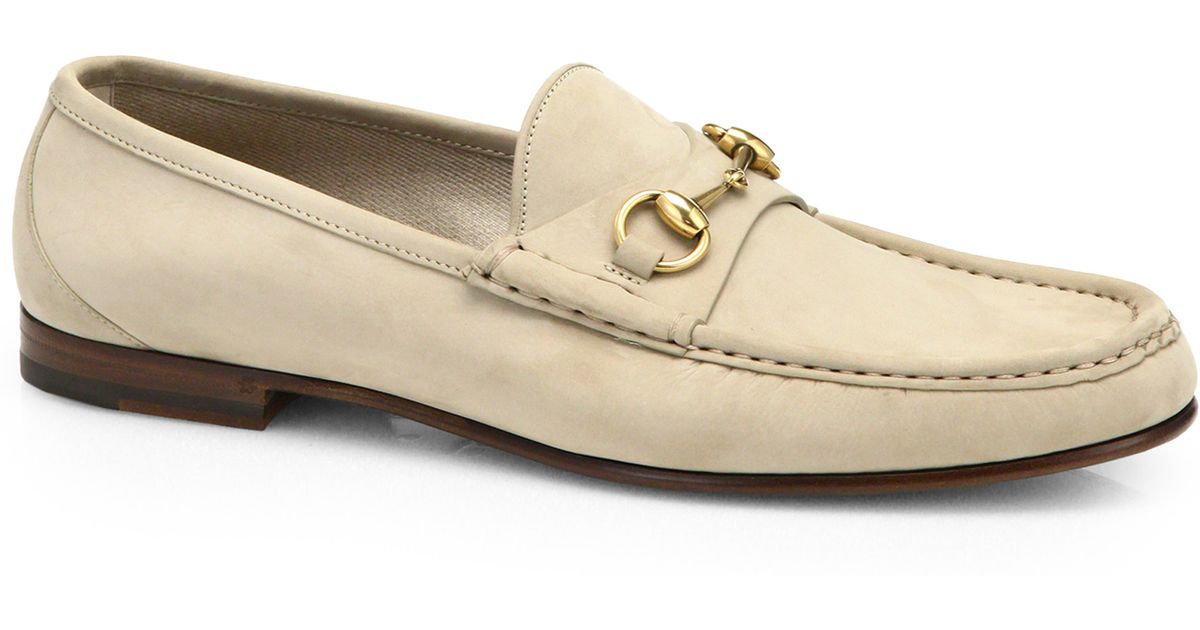 c7b5d26f954 Gucci 1953 Suede Horsebit Loafers in Natural for Men - Lyst