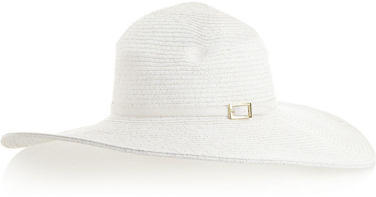 Lyst - Melissa Odabash Jemima Woven Widebrim Hat in White a1f3fc52456e
