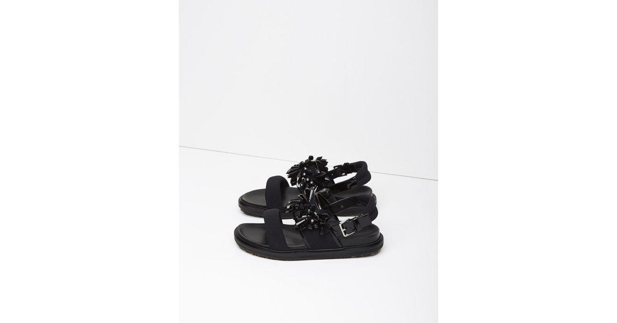 Marni Lyst Black In Sandal Beaded Fussbett 1d7qwPd