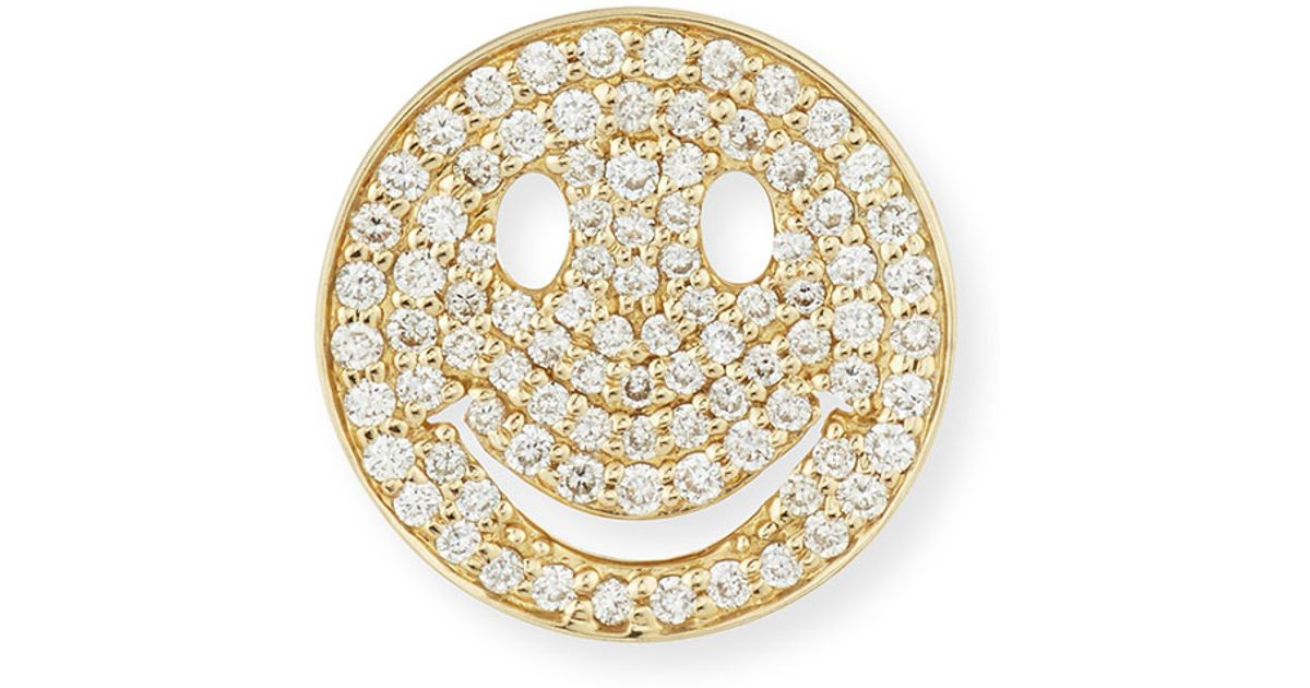 Sydney Evan Large Pavé Diamond Happy Face Stud Earring 9YeZJwxUP9