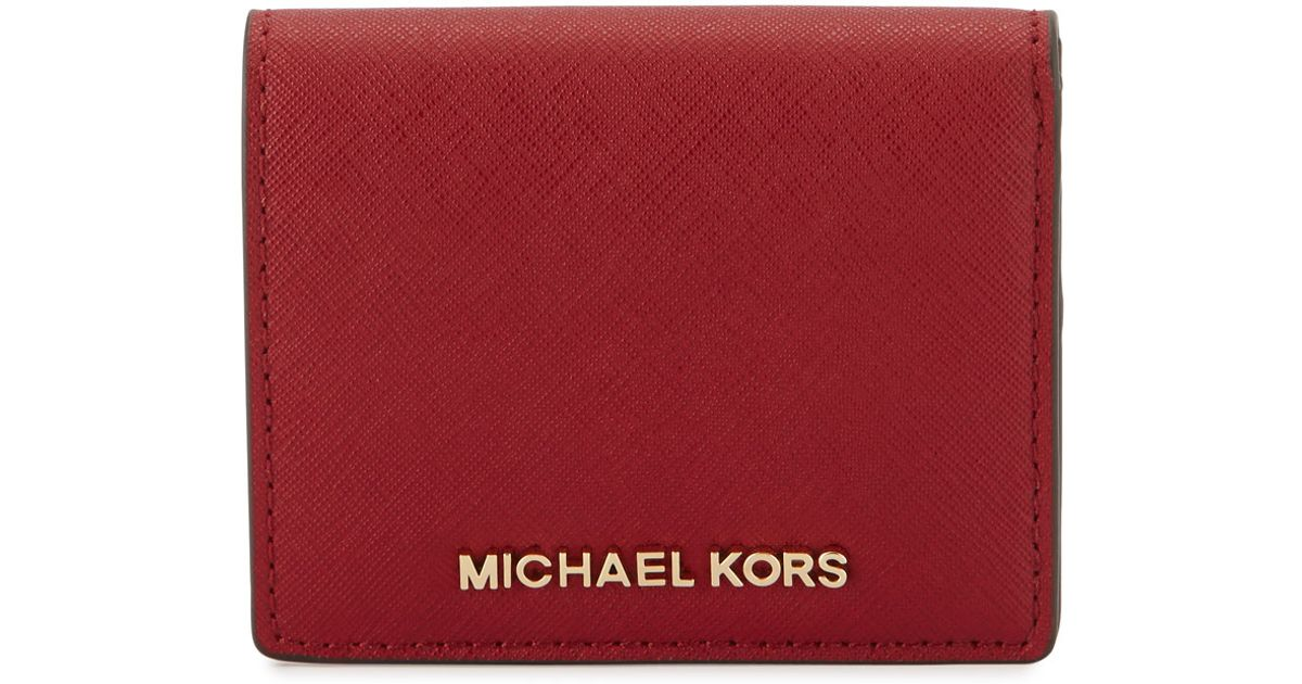 4cbf3dcb22d3 MICHAEL Michael Kors Jet Set Travel Flap Card Holder in Red - Lyst
