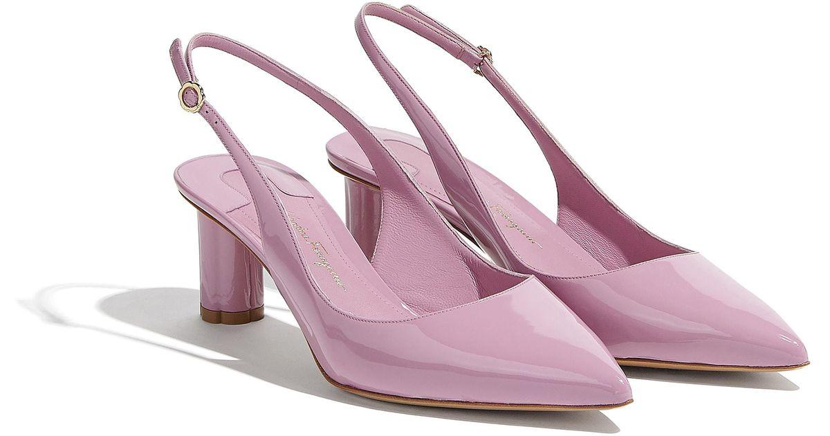 Lyst ferragamo flower heel slingback pump shoe in pink mightylinksfo