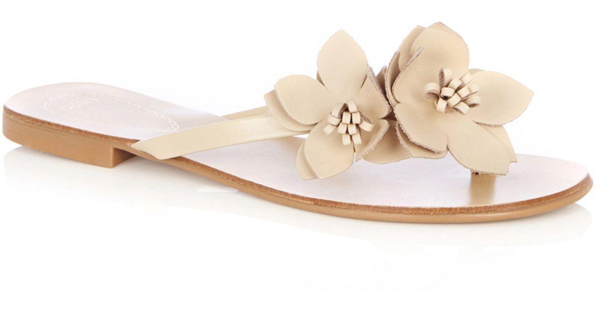 c56167e10781 Lyst - Oasis Leather Flower Flip Flop in Metallic