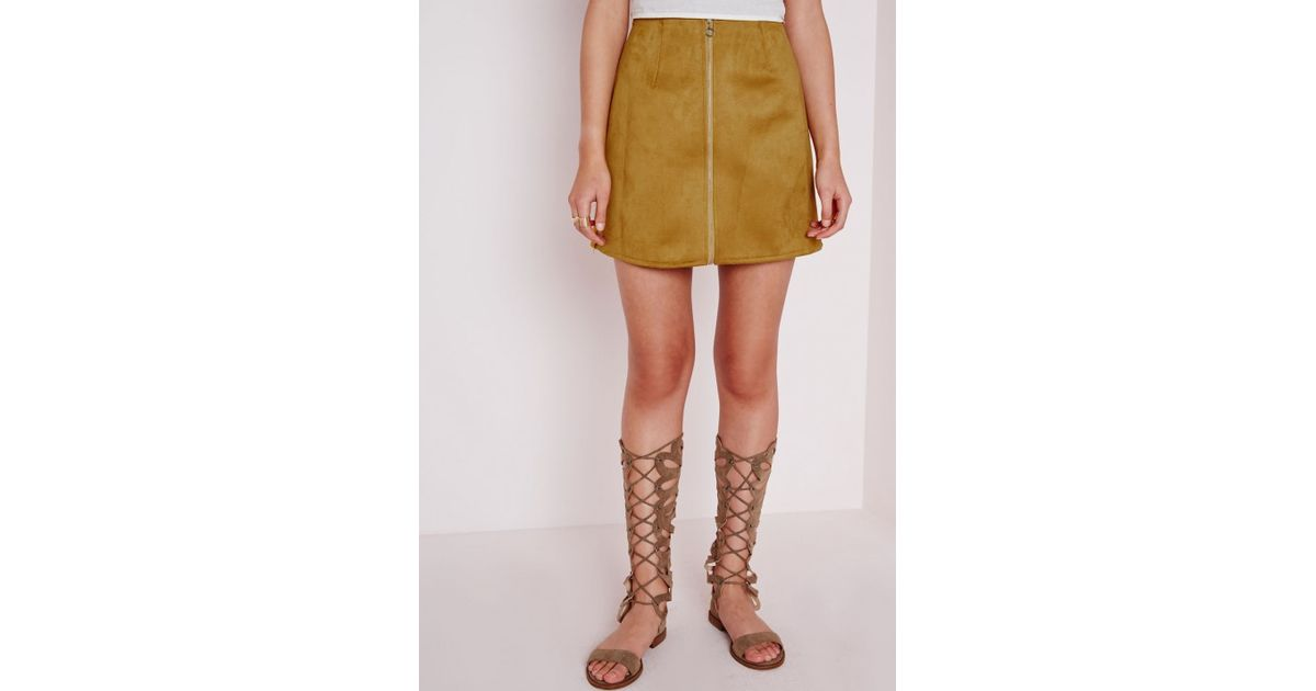 Missguided Zip Detail Faux Suede A Line Skirt Mustard in Yellow | Lyst