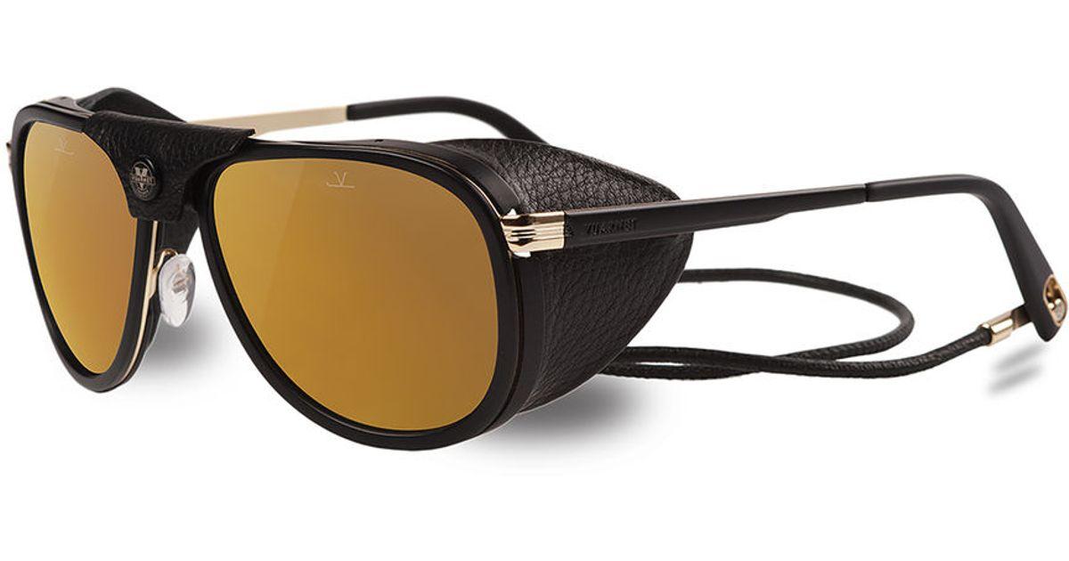 Vuarnet black mat black sunglasses with pure brown bronze flashed