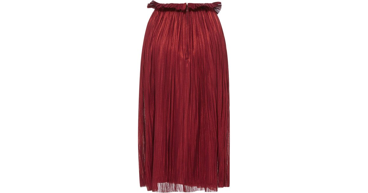 b95a281e1 Lyst - Maria Lucia Hohan Rosie Knee Length Pleated Skirt in Red