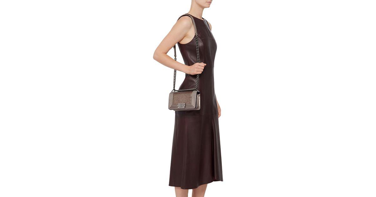 e04274daaf3f Lyst - Madison Avenue Couture Chanel Metallic Bronze Lizard Small Boy Bag  in Brown
