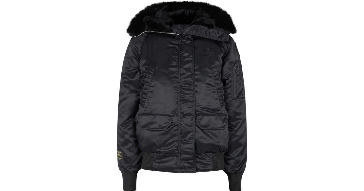 canada goose x ovo chilliwack black fur trimmed jacket in black lyst