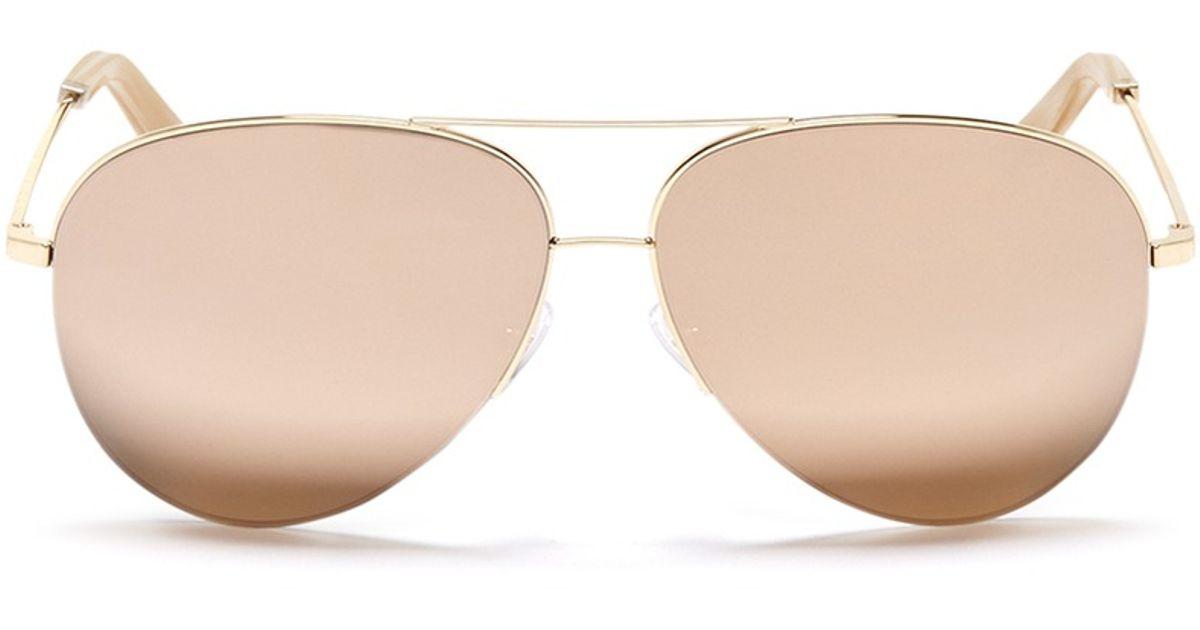 89044c5b6d8 Victoria Beckham  classic Victoria  18k Gold Mirror Aviator Sunglasses in  Metallic - Lyst