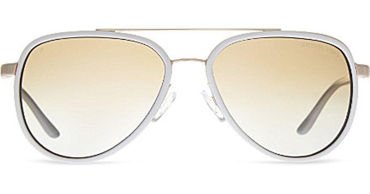 Lyst - Michael Kors Aviator Sunglasses in White