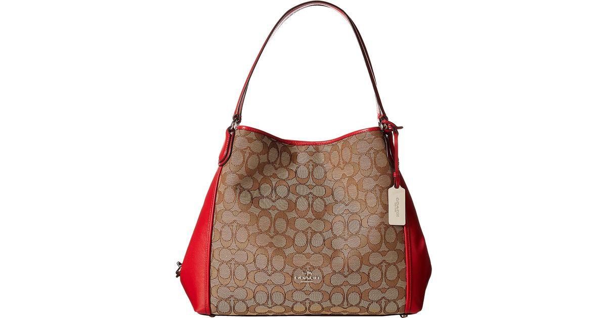 1123a80dca Lyst - COACH Signature Edie 31 Shoulder Bag in Natural